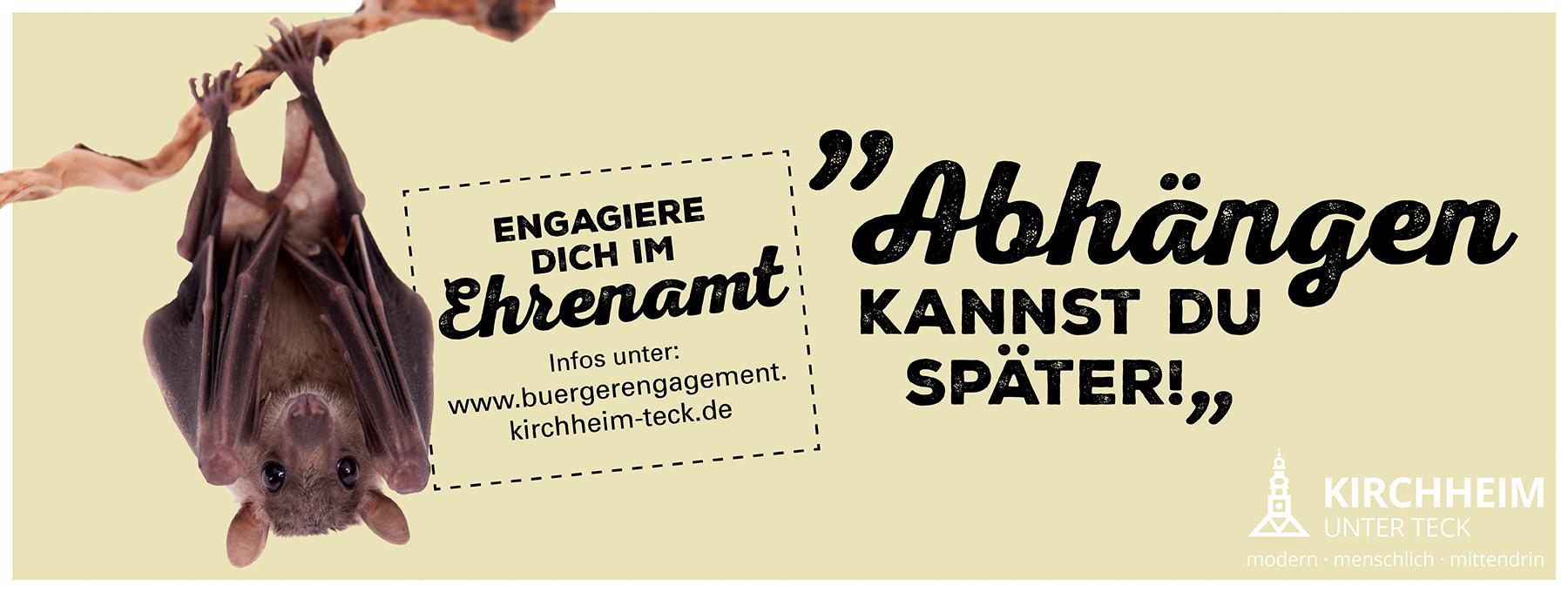 """Fledermaus hängt an Ast und Text """"Abhängen kannst du später!"""", Kampagne Engagement im Ehrenamt"""