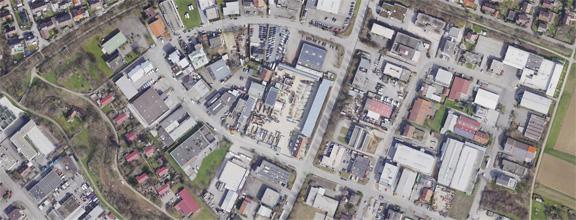 Luftaufnahme des Gewerbegebiets Bohnau