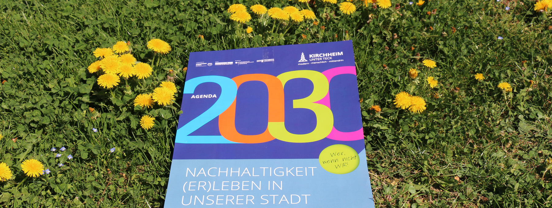 Logo der Lokalen Agenda 2030 auf grüner Wiese