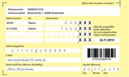 Es ist eine Muster-Ablesekarte zur Meldung des Wasserzählerstandes zu sehen.