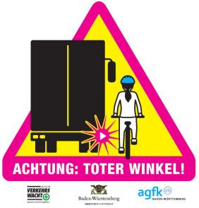 """Aufkleber """"Achtung: Toter Winkel"""""""