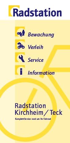 Titelseite des Flyers der Radstation am Bahnhof