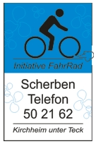 Fahrradaufkleber mit der Nummer des Scherbentelefons