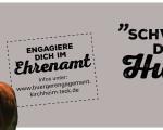 """Wieherndes braunes Pferd und Aufruf """"Schwing die Hufe!"""", Kampagne Engagement im Ehrenamt"""