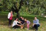 Ortvorsteher Christopher Flik rechts mit freiwilligen Helfern bei der Apfelernte