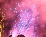 nächtliches Feuerwerk in verschiedenen Farben