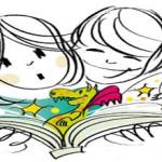 Zeichnung mit zwei Kinderköpfen über aufgeschlagenem Buch