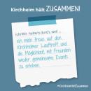 Es ist ein Bild zu sehen auf dem steht: Kirchheim hält zusammen, Ich/wir halten durch, weil ich mich auf den Kirchheimer Lauftreff freue.