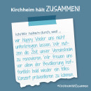 Es ist ein Bild zu sehen auf dem steht: Kirchheim hält zusammen, Ich/wir halten durch, weil Happy Voices zusammenhalten.