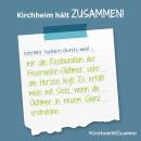 Es ist ein Bild zu sehen auf dem steht: Kirchheim hält zusammen, Ich/wir halten durch, weil ich stolz auf Oldtimer bin.