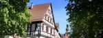 Blick auf das Max-Eyth-Haus und die davorstehenden Kastanien