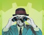 Mann mit Fernglas schaut in die Zukunft der Stadt Kirchheim unter Teck