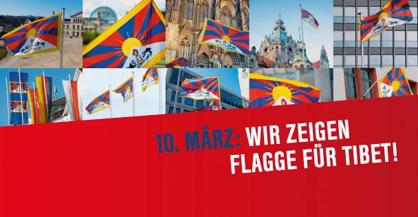Am 10. März 2019 zeigt die Stadt Kirchheim unter Teck Flagge für Tibet