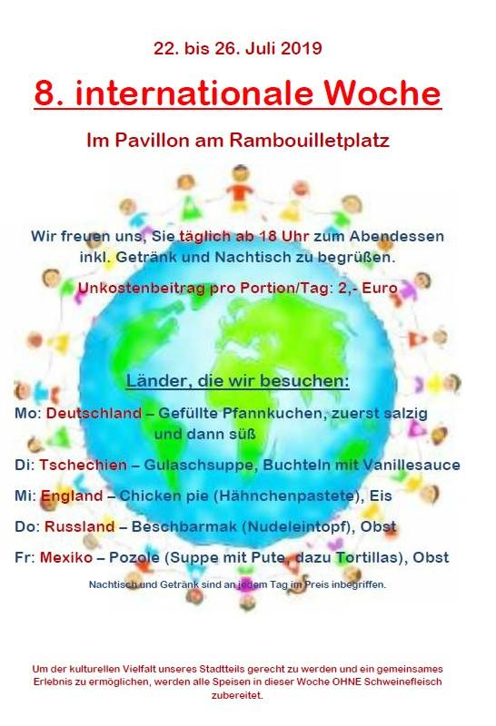 Plakat der 8. Internationalen Woche im Pavillon am Rambouilletplatz
