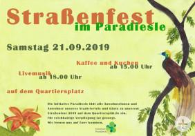 Plakat vom Straßenfest Paradiesle 2019