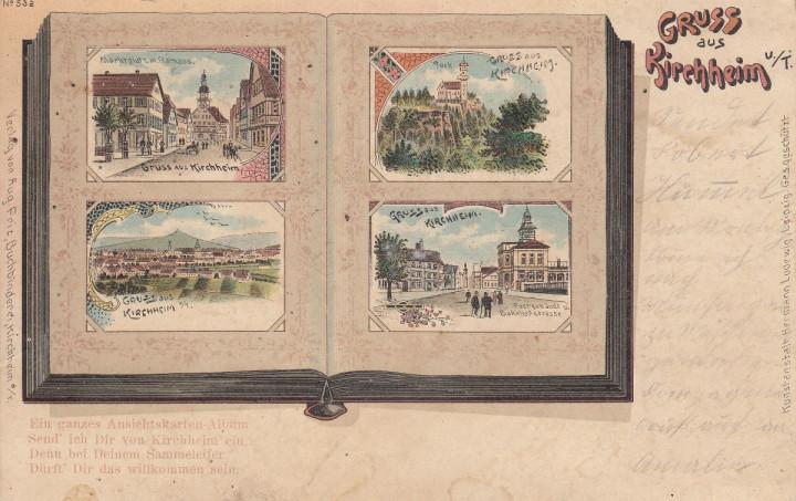 Eine Kirchheimer Psotkarte mit 4 historischen Motiven aus Kirchheim unter Teck