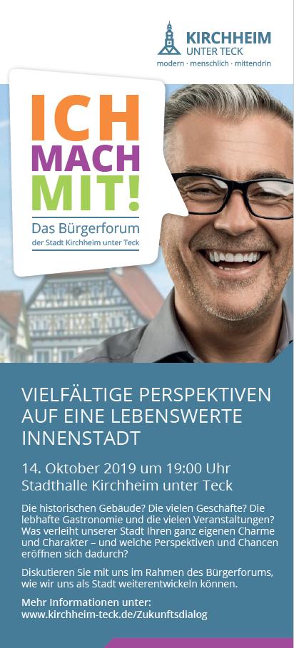"""Anzeige zum Bürgerforum """"Lebenswerte Innenstadt"""" am 14.10.2019"""