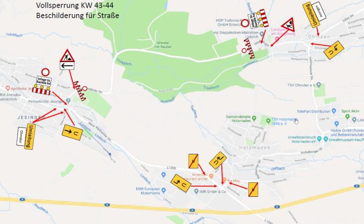 Skizze Umleitung zur Sperrung der Holzmadener Straße ab 21.10.2019