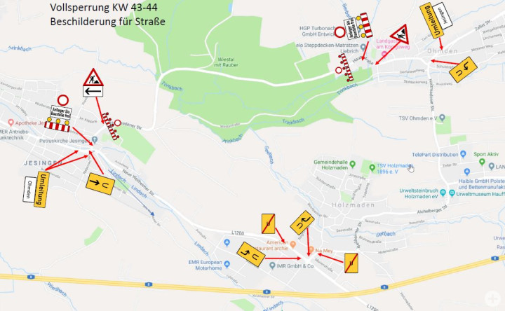 Skizze Umleitung zur Sperrung der Holzmadener Straße ab 24.10.2019