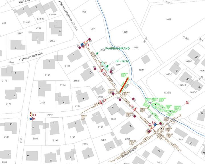 Ein Kartenauschnitt Baustelle November 2019 Alte Kirchheimer Straße Nabern