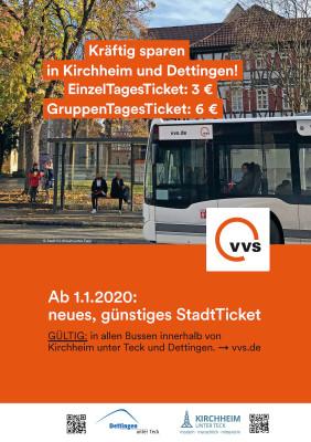 Plakat zur Einführung des VVS StadtTicket am 01.01.2020