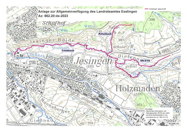 Karte zur Allgemeinverfügung des Landratsamtes Esslingen