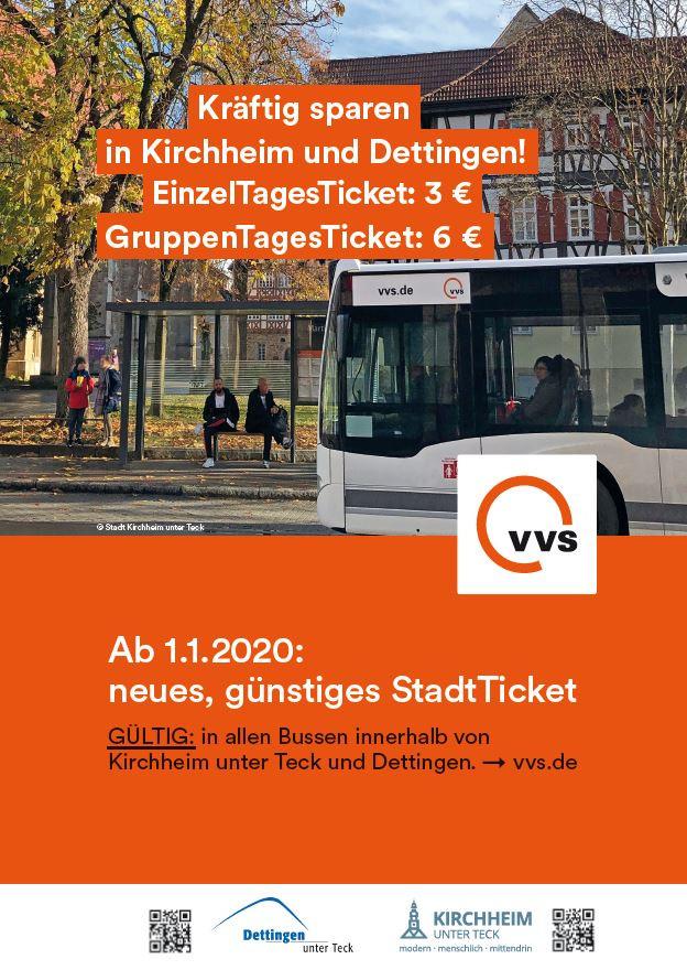Plakat zur Einführung des StadtTickets in Kirchheim unter Teck und Dettingen
