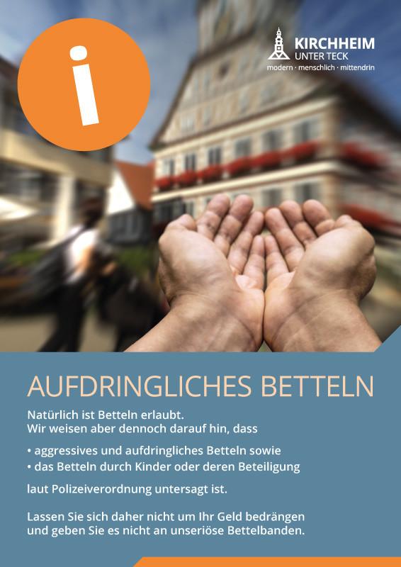 Das Plakat, das in Kirchheimer Geschäften auf die rechtliche Situation rund um das Betteln aufmerksam macht.