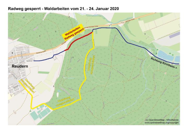 Karte: Radwegsperrung zwischen Reudern und Bürgerseen