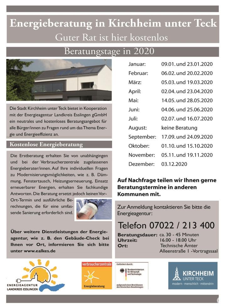 Termine für die Energieberatung in Kirchheim unter Teck