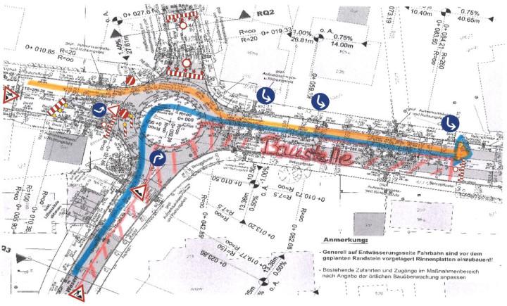 Verkehrsplan mit Beschilderung zur Baustelle am Kreisverkehr im Sanierungsgebiet Ötlingen.