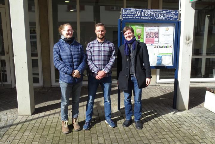 Laura Müller, Marian Glaser und Fabian Müller beim Planungstreffen der Partnerschaft für Demokratie im März 2020