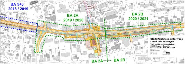 Ein Übersichtsplan, der die Bauabschnitte 2A und 2B des Sanierungsgebiets Ortsmitte Ötlingen umfasst.