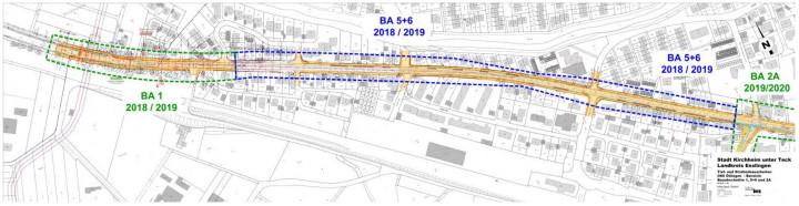 Ein Übersichtsplan, der die Bauabschnitte 1, 5 und 6 des Sanierungsgebiets Ortsmitte Ötlingen umfasst.