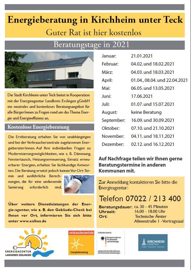 Plakat mit Terminen für die Energeiberatung in Kirchheim unter Teck 2021