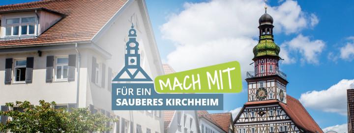 Kirchheimer Logo Mach mit für ein sauberes Kirchheim, im Hintergrund das Rathaus