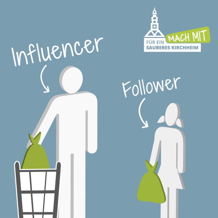 Ein Influencer wirft als Vorbild Abfall in den Mülleimer