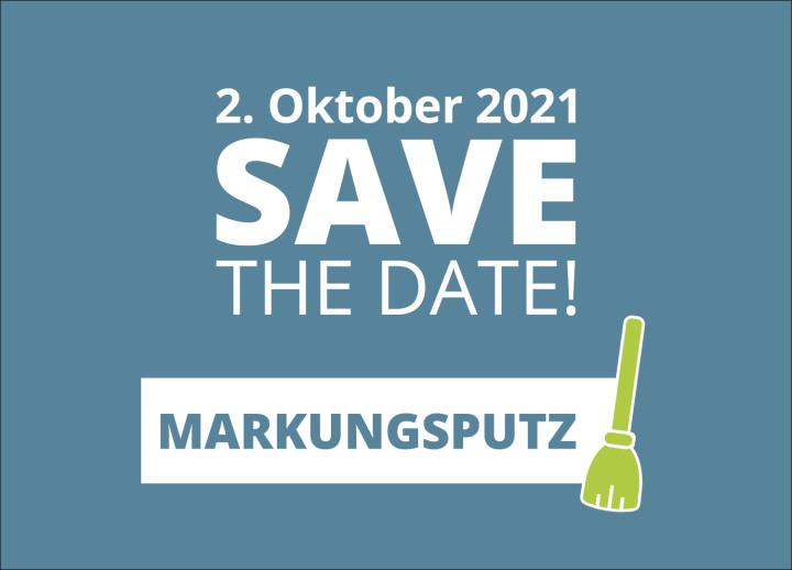 Es ist eine Terminvormerkung für den Markungsputz am Samstag, 2. Oktober 2021 dargestellt.