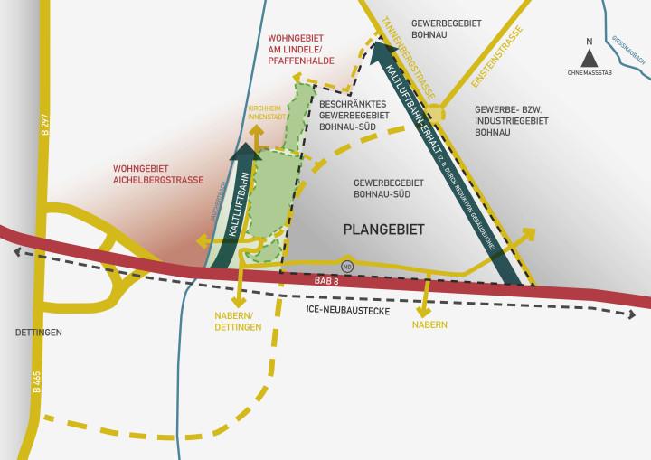 Abbildung der Fläche d. geplanten Gewerbegebiets Bohnau-Süd