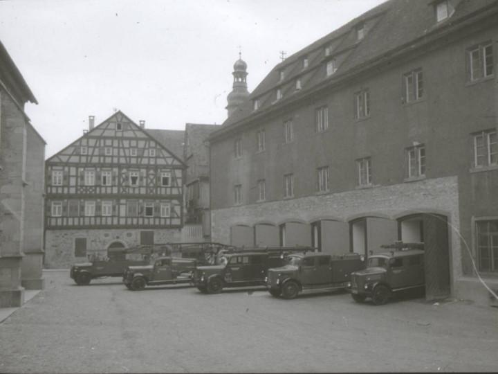 Ansicht des Feuerwehrmagazins im Kornhaus in den 1950er Jahren