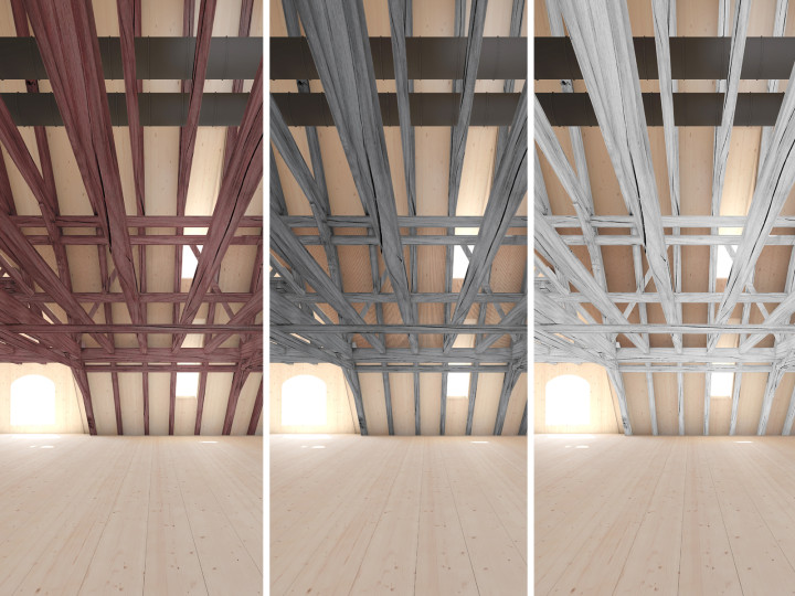 Visualisierung Holztragwerk - mögliche Farbigkeit