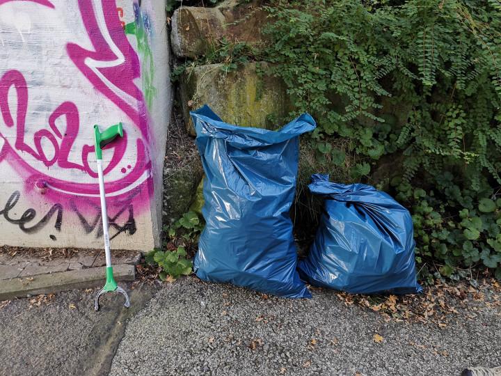 Gefüllte Müllsäcke beim Markungsputz 2021.