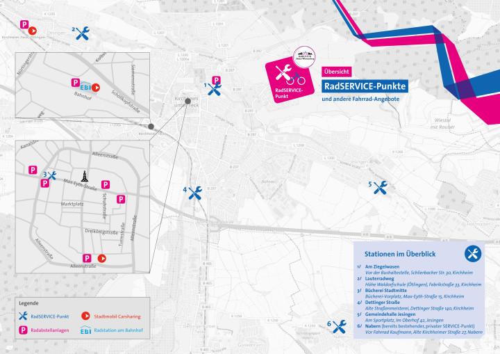 Karte mit einer Übersicht zu den RadSERVICE-Punkten in Kirchheim unter Teck