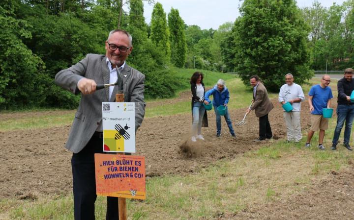Kirchheims Erster Bürgermeister Günter Riemer im Vordergrund. Im Hintergrund sind Ehrenamtliche verschiedener Institutionen beim Säen von Blumen zu sehen.