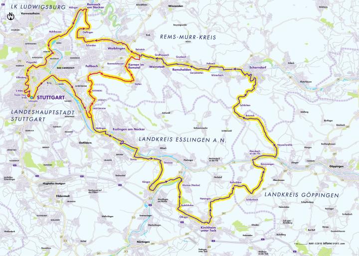 Streckenverlauf des Radrennens Jedermann Tour 2018 in der Region Stuttgart